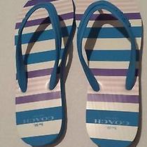 Coach Clementine Stripe Rubber Flip Flops Size 7 New No Box Photo
