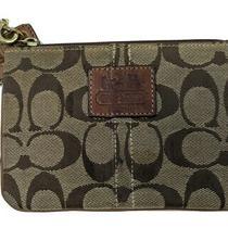 Coach Clutch Brown Signature Wristlet Wallet Canvas Leather Trim Small Vintage  Photo