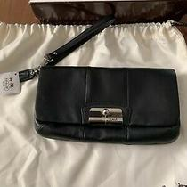 Coach Clutch Leather Black Hand Bag Wristlet Brand New Photo