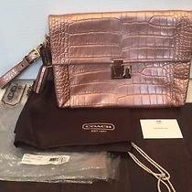 Coach Clutch Legacy Metallic Leather Croc Rosegold Tassel - Used Once Photo