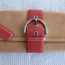 Coach Clutch Wallet Purse Two Toned Natural Coral Pink Tan L33-6694 Photo