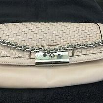 Coach Clutch Wallet With Chain Strap Beige W/basketweave and Silver Hardware Photo
