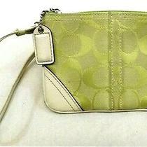 Coach Clutch Wristlet Wallet Signature Green Canvas Off White Leather Trim Strap Photo
