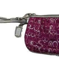 Coach Clutch Wristlet Wallet Signature Pink Canvas Off Silver Leather Trim Strap Photo