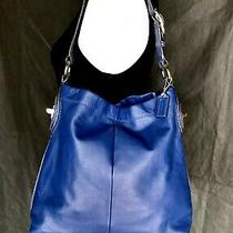 Coach Cobalt Blue Penelope Hobo Leather Snake Accents Large Bag Purse F16535 Photo