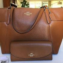Coach  Cognac Satchel With Wallet Photo