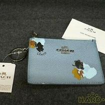 Coach Coin Case With Key Ring Light Blue Vintage Authentic Business Luxury Photo