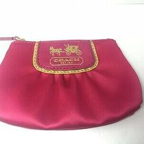 Coach Coin Purse Small Satin With Chain Inside Hot Pink & Gold Super Find Photo
