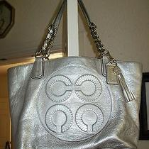 Coach Colette Gold Large Tote Leather Op Art Logo Purse Bag Metallic Coach Photo