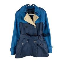 Coach Color Block Belted Short Trench Coat - Blue Navy Tan Khaki - Size 2xs Photo