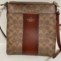 Coach Colorblock Canvas Signature Tan & Rust Stripe Messenger Crossbody Bag Photo