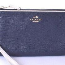 Coach Colorblock Navy Chalk Double Zip Leather Wristlet Wallet Photo