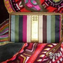 Coach Colorful Wristlet in Blue Berry Gray White Purple With Gold Leather Photo