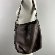 Coach Convertible Crossbody Duffle Hobo Bag Brown Purse Pebble Leather Photo