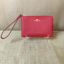 Coach Corner Zip Wristlet Red New With Box Photo