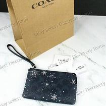 Coach Corner Zip Wristlet Signature Blue Snowflake Woman New W/ Coach Shop Bag Photo