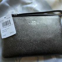 Coach Corner Zip Wristlet Silver/gunmetal (Grey) Metallic Spring New Tag Photo