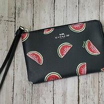 Coach Corner Zip Wristlet With Limited Watermelon Print Navy / Pink Nwt Photo