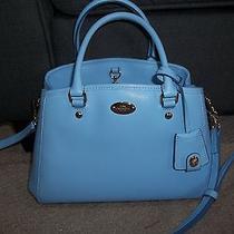 Coach Cornflower Blue Handbag Margot Satchel Crossgrain Leather F34607 Photo