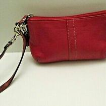 Coach Cranberry Red Leather Zipper Cosmetic Pouch Clutch Wristlet  Photo