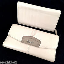 Coach Cream & Brown Leather Bi-Fold Wallet W/check-Book Cover Please Read Photo