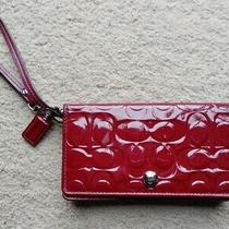 Coach Crimson Embossed Signature C Patent Leather Demi Clutch Wristlet Wallet Photo