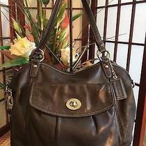 Coach Cross-Body Shoulder Handbag Black Smooth Leather 13172  Photo