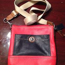 Coach Crossbody Bag Orange and Navy Photo