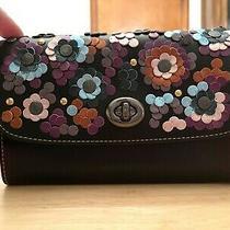 Coach Crossbody Clutch Black Leather Bag Floral Handbag Purse Wristlet F83269 Photo