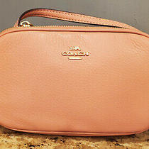 Coach Crossbody Clutch Purse in Light Pink Pebble Leather New 150 Retail Photo