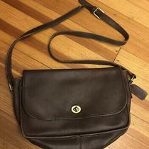 Coach Crossbody Dark Brown Chocolate Brown Leather Vintage Bag Purse Photo