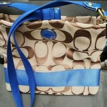 Coach Crossbody Purse-Brown With Blue Photo