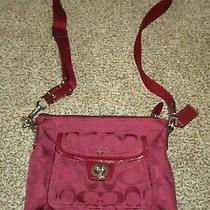 Coach Crossbody Purse F45026 Red Jaquard Sig C Swingpack Patent Leather Trim Euc Photo