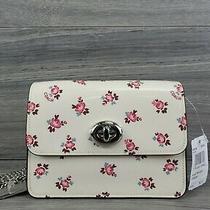 Coach Crossbody Small Patent Leather Floral Bloom Bowery Messenger Handbag Chalk Photo