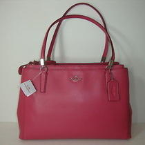 Coach Crossgrain Leather Christie Shoulde Handbag F34672 Sunset Red Photo