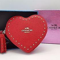 Coach Crossgrain Leather Edge Studs Heart Coin Case 65491b (True Red) Photo
