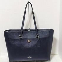 Coach Crossgrain Leather Folio Tote Midnight Navy Silver Xl Padded New 78246 Photo