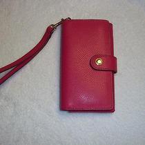 Coach Crossgrain Leather Phone Clutch Wristlet Photo