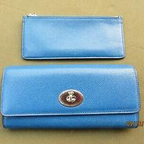 Coach Crossgrain Royal Blue Leather Accordian Turn Lock Wallet & Pull Out Zip  Photo