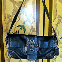Coach Cute Black Leather Satchel Handbag With Silvertone Hardware Photo
