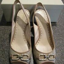 Coach Cynthia Signature Beige Peeptoe Heel Slingback Sandals Shoes Size 11b Photo