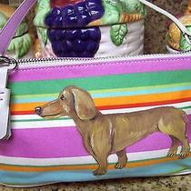 Coach Dachshund Weenie Dog Hand Painted Handbag Baguette Summer  Photo