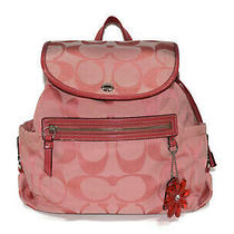 Coach Daisy Bag Pack F16556 Pink Canvas Signature Backpack Simple Ladies (330 Photo
