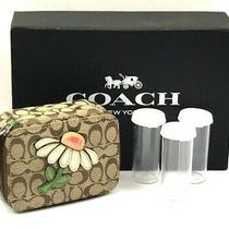 Coach Daisy Brown/khaki/green Signature Canvas Leather Pill Case F61624 Photo