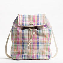 Coach Daisy Madras Packable Backpack Style F77342 B4/multicolor Photo