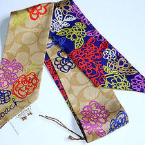 Coach Daisy Signature Applique Floral Flower Ponytail Scarf Bag Neck 100 Silk  Photo