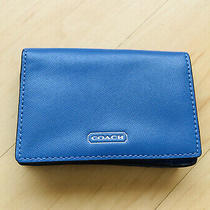 Coach Darcy Id Business Card Case F68074 Porcelain Blue Leather Professional Photo
