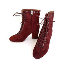 Coach Dean Merlot Burgundy Suede Block Heel Lace-Up Ankle Booties Size 6 New Photo
