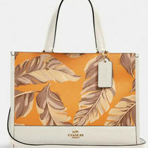 Coach Dempsey Carryall Bananas Leaves Print Leather Canvas Redwood1952 Nwt 378 Photo
