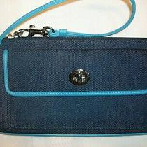 Coach Denim Canvas & Leather Wristlet Turnlock Pocket Navy Turquoise Photo